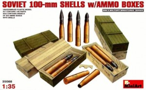 SOVIET 100mm SHELLS WITH AMMO BOXES (SU-100, T-54/55, BS-3) #35088 1/35 MINIART