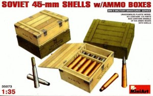 SOVIET 45mm SHELLS WITH AMMO BOXES(T26/50/70, BT-5/7, BA6/10, M42)#35073 MINIART