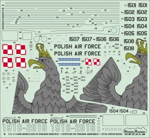 C-130 H HERCULES POLISH AF 100TH ANNIVERSARY MARKINGS #72111 1/72 MODELMAKER